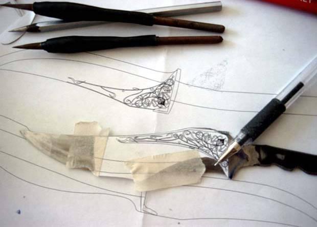 Как перенести рисунок на нож при травлении